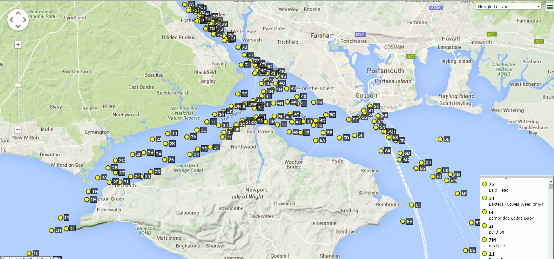 Solent Marks 2015 Modified (updated 2016-01-02) Chart