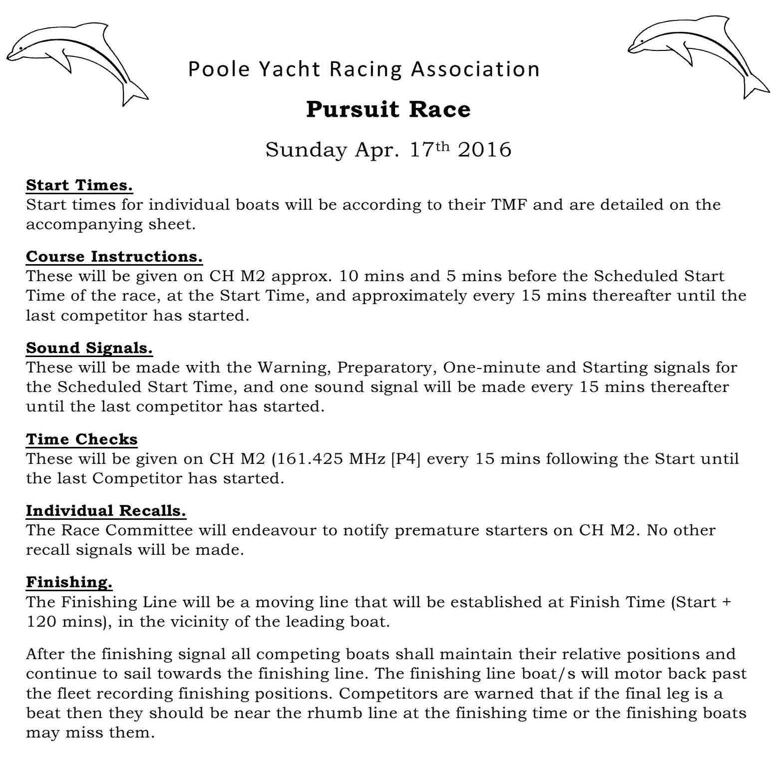 Pursuit Race - Instructions - 2016